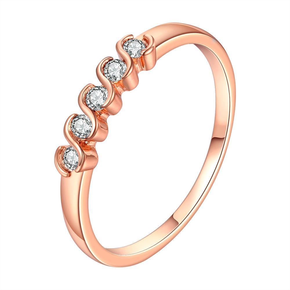 Vienna Jewelry Rose Gold Plated Classic Swirl Crystals Ring Size 8