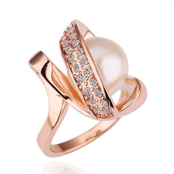 Vienna Jewelry Rose Gold Plated Pearl Twisted Center Ring Size 8