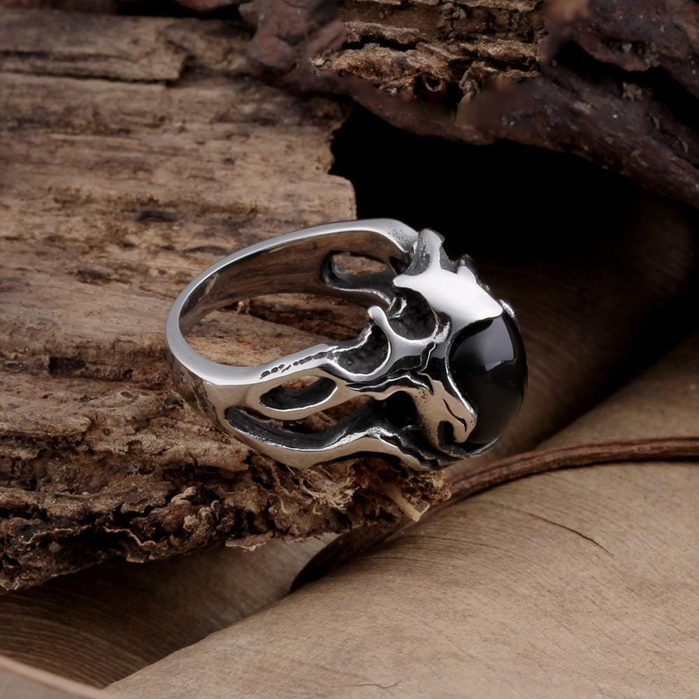 Vienna Jewelry Black Gem Abstract Stainless Steel Ring