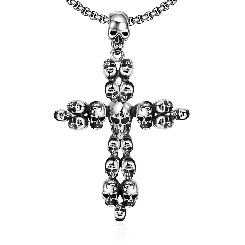 Vienna Jewelry Cross Covered in Skulls Stainless Steel Necklace