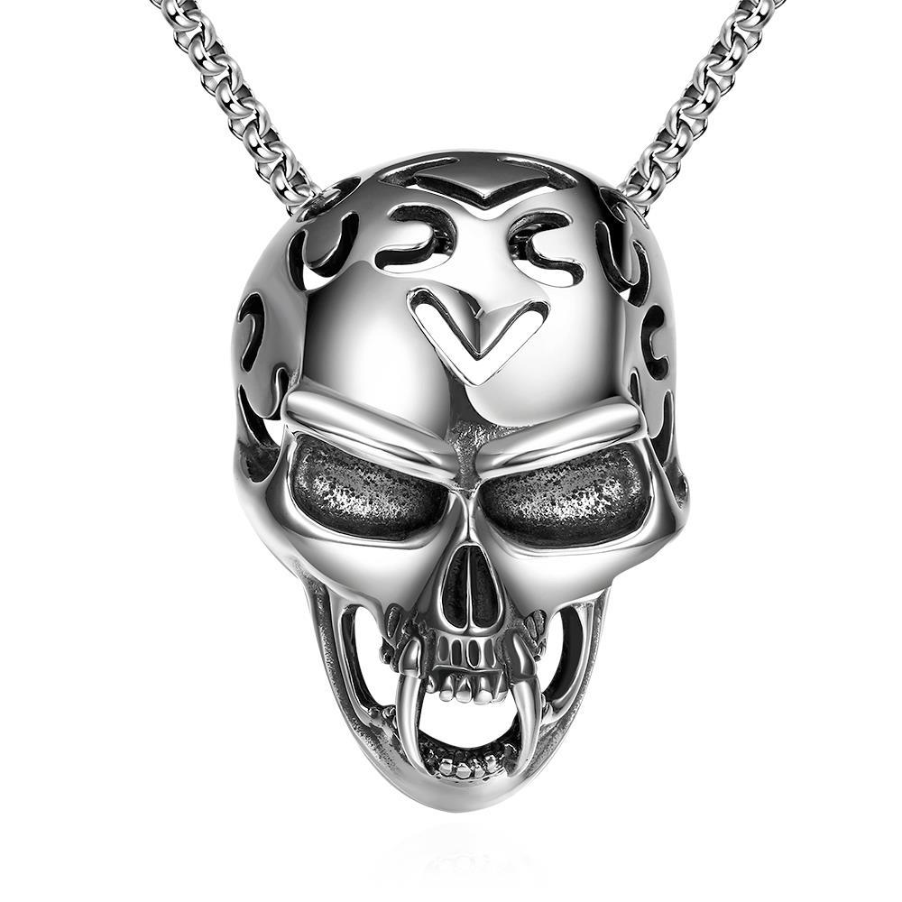 Vienna Jewelry Skull Helmet Emblem Stainless Steel Necklace