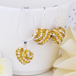Vienna Jewelry Austrian Crystal Element Multi-Pave Heart Drop Earring and Necklace Set-Golden Crystal