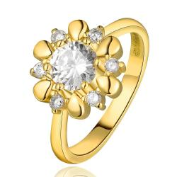 Vienna Jewelry Gold Plated Petite Snowflake Covered with Jewels Ring Size 7 - Thumbnail 0