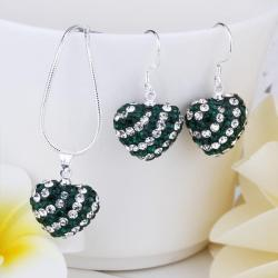 Vienna Jewelry Austrian Crystal Element Multi-Pave Heart Drop Earring and Necklace Set-Emerald Green - Thumbnail 0