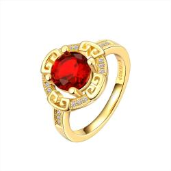 Vienna Jewelry Gold Plated Celtic Design Ruby Ring Size 7 - Thumbnail 0