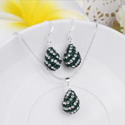 Vienna Jewelry Austrian Crystal Element Multi-Pave Pear Earring and Necklace Set-Emerald Green