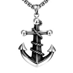 Vienna Jewelry Anchor Stainless Steel Covered Necklace - Thumbnail 0
