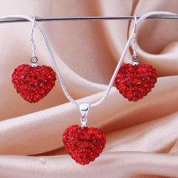 Vienna Jewelry Austrian Crystal Element Solid-Pave Heart Earring and Necklace Set-Solid Red