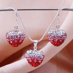 Vienna Jewelry Austrian Crystal Element Multi-Pave Heart Earring and Necklace Set-Red Fusion