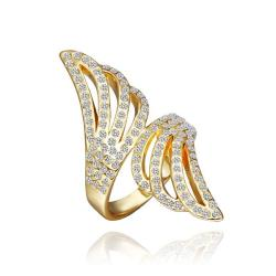 Vienna Jewelry Gold Plated Jewels Covering Floral Orchid Ring Size 8 - Thumbnail 0