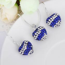 Vienna Jewelry Austrian Crystal Element Multi-Pave Heart Drop Earring and Necklace Set-Royal Blue Crystal - Thumbnail 0
