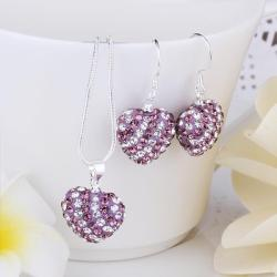 Vienna Jewelry Austrian Crystal Element Multi-Pave Heart Drop Earring and Necklace Set-Purple Passion