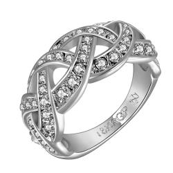 Vienna Jewelry White Gold Plated Swirl Design Classical Wedding Band Size 8 - Thumbnail 0