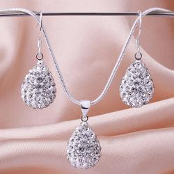Vienna Jewelry Austrian Crystal Element Solid-Pave Pear Earring and Necklace Set-Crystal