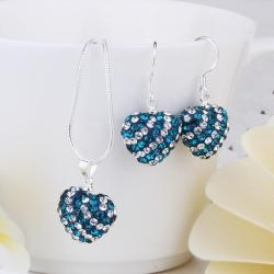 Vienna Jewelry Austrian Crystal Element Multi-Pave Heart Drop Earring and Necklace Set-Teal Blue
