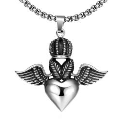 Vienna Jewelry Flying Hearts Emblem Stainless Steel Necklace - Thumbnail 0