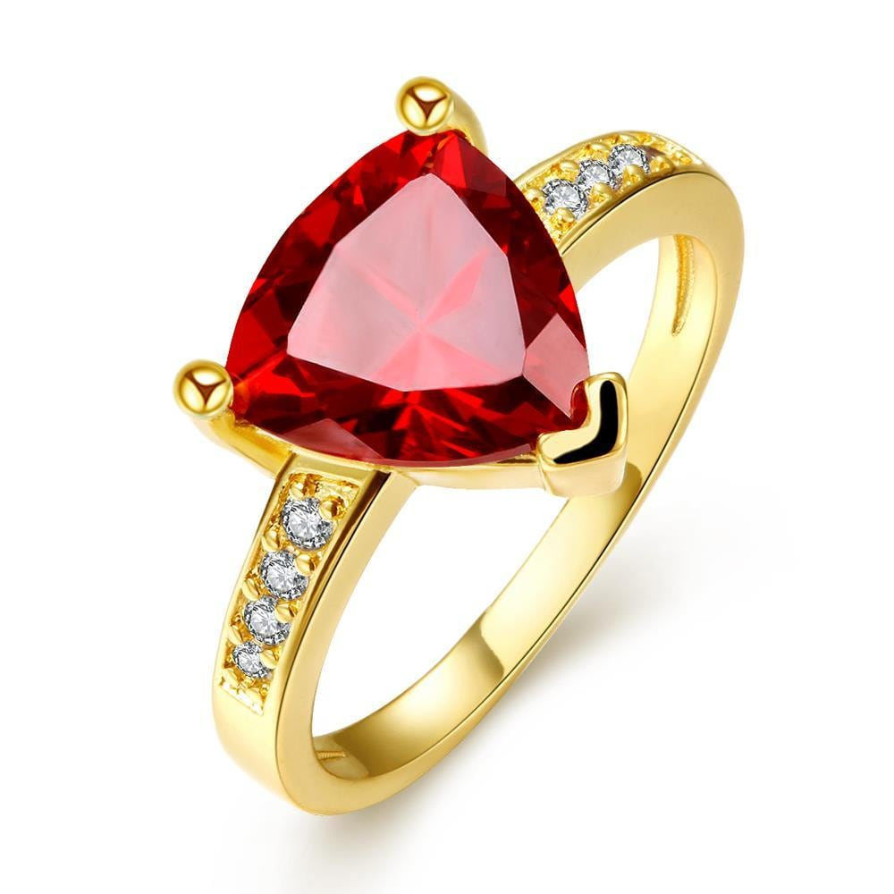 Vienna Jewelry Gold Plated Triangular Ruby Classic Ring Size 7