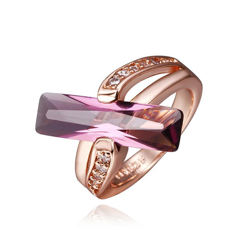 Vienna Jewelry Rose Gold Plated Lavender Citrine Horizontal Center Ring Size 8