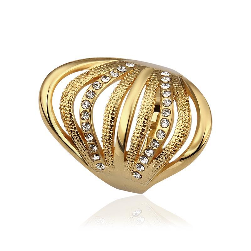 Vienna Jewelry Gold Plated Half Wheel Crystal Lining Ring Size 8