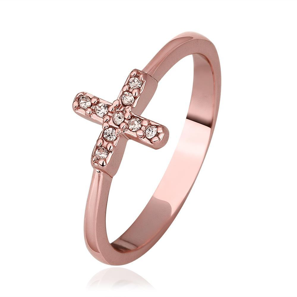 Vienna Jewelry Rose Gold Plated Petite Plus Design Ring Size 8