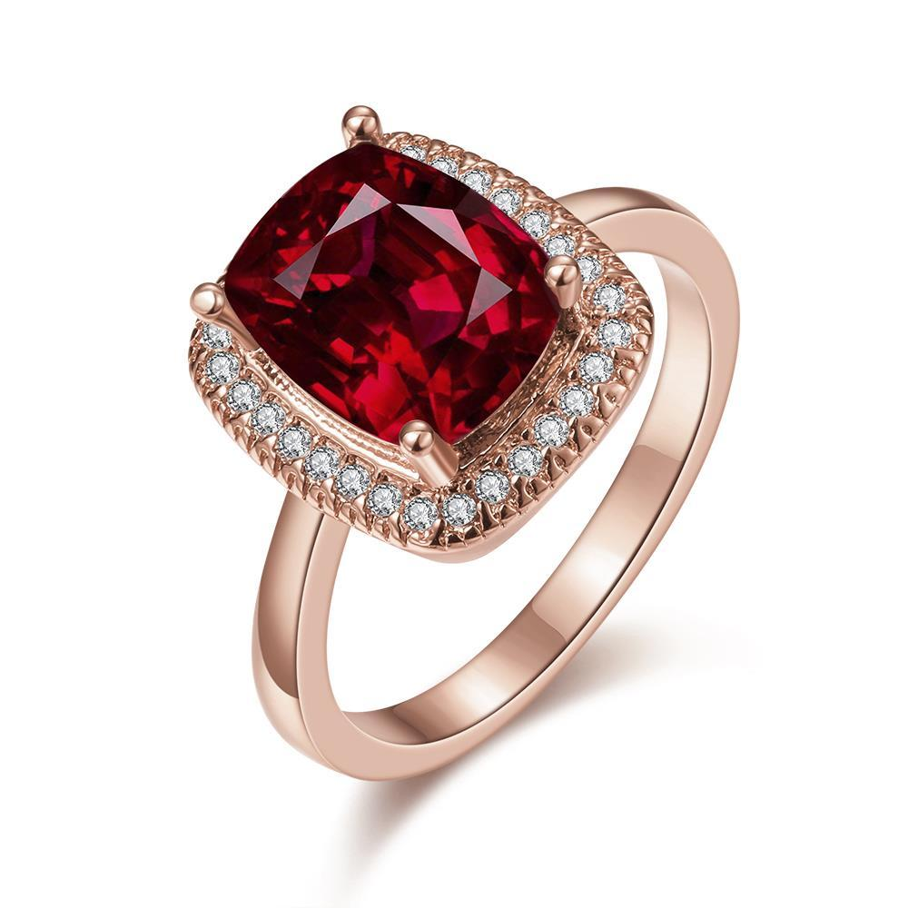 Vienna Jewelry Rose Gold Plated Main Ruby Red Cocktail Ring Size 7