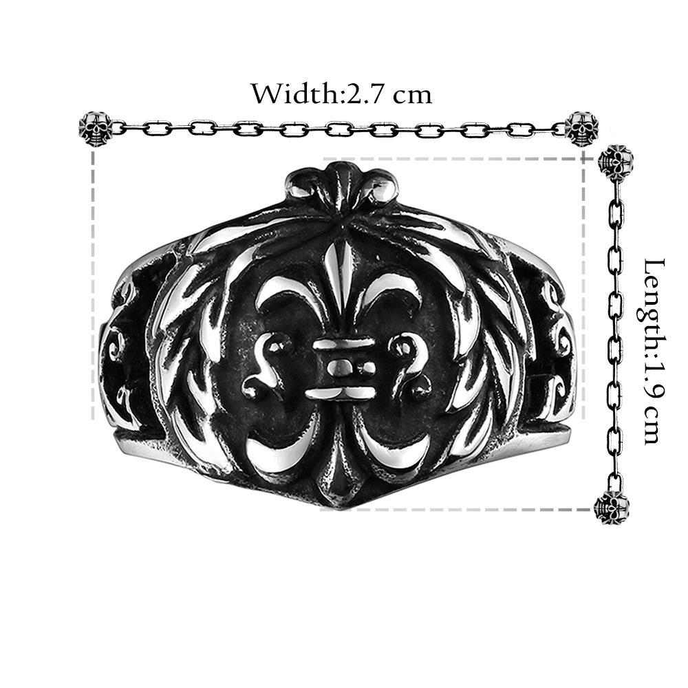 Vienna Jewelry English Shield Emblem Stainless Steel Ring