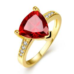 Vienna Jewelry Gold Plated Triangular Ruby Classic Ring Size 7 - Thumbnail 0