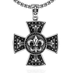 Vienna Jewelry Thick Cross Stainless Steel Necklace - Thumbnail 0