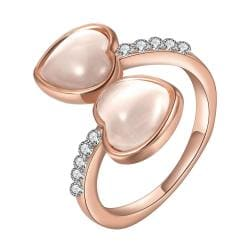 Vienna Jewelry Rose Gold Plated Double Heart Shaped Ivory Plating Ring Size 8 - Thumbnail 0