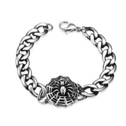 Vienna Jewelry Spider Web Emblem Stainless Steel Bracelet - Thumbnail 0