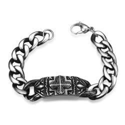 Vienna Jewelry Thick Cut Cross Emblem Stainless Steel Bracelet - Thumbnail 0