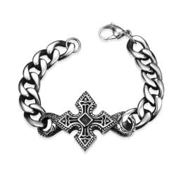 Vienna Jewelry Mini Stainless Steel Cross Bracelet - Thumbnail 0