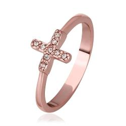 Vienna Jewelry Rose Gold Plated Petite Plus Design Ring Size 8 - Thumbnail 0