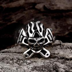 Vienna Jewelry The Original Death Skull Stainless Steel Ring - Thumbnail 0