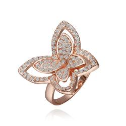 Vienna Jewelry Rose Gold Plated Flying Butterfly Jewels Covered Ring Size 8 - Thumbnail 0