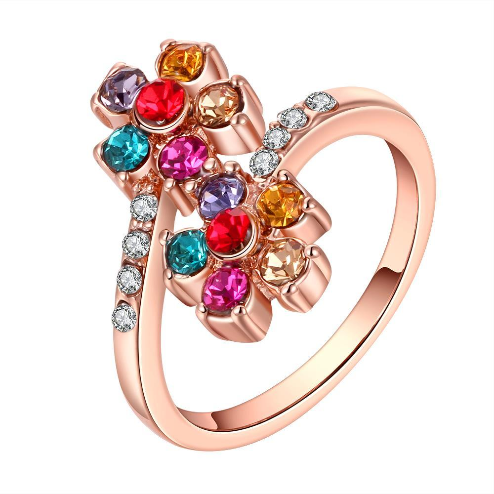 Vienna Jewelry Rose Gold Plated Rainbow Colored Orchid Ring Size 8
