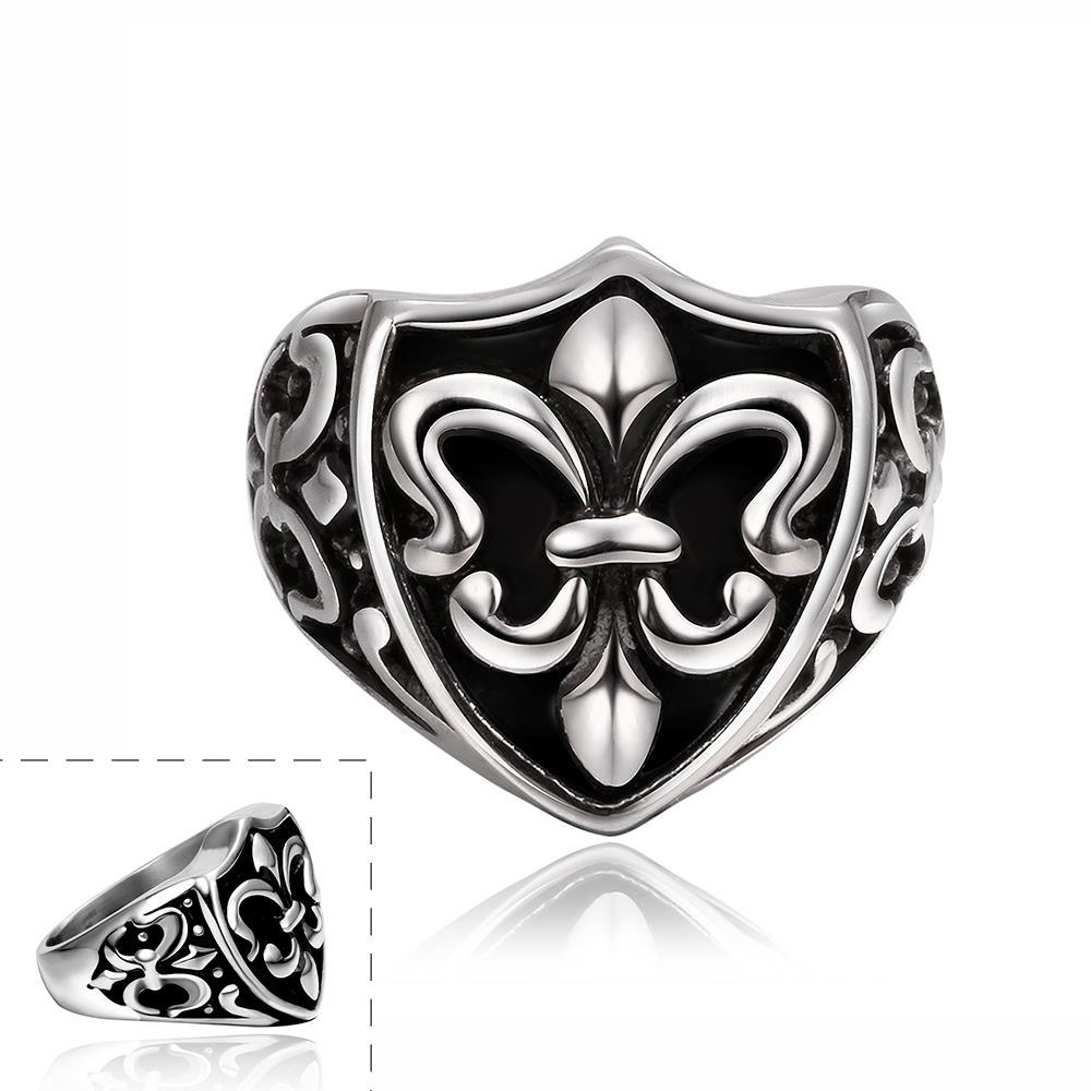 Vienna Jewelry Abstract Shield Emblem Stainless Steel Ring