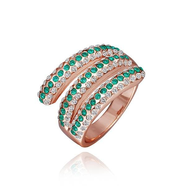 Vienna Jewelry Rose Gold Plated Matrix Curved Emerald Jewels Ring Size 8