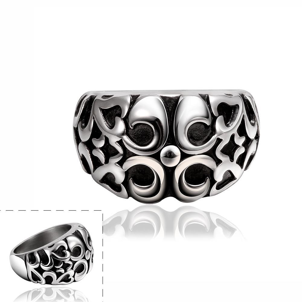 Vienna Jewelry Abstract Quads Design Stainless Steel Ring