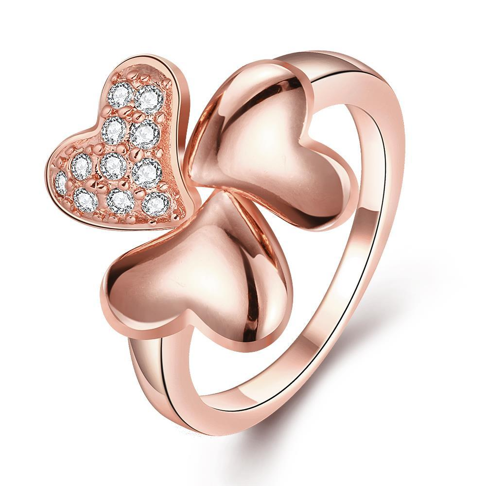 Vienna Jewelry Rose Gold Plated Petite Clover Stud Ring Size 8
