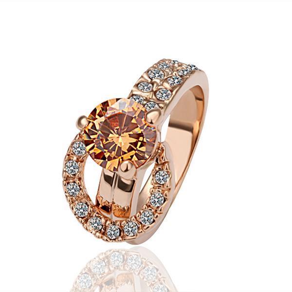 Vienna Jewelry Rose Gold Plated Orange Citrine Center Ring Size 8