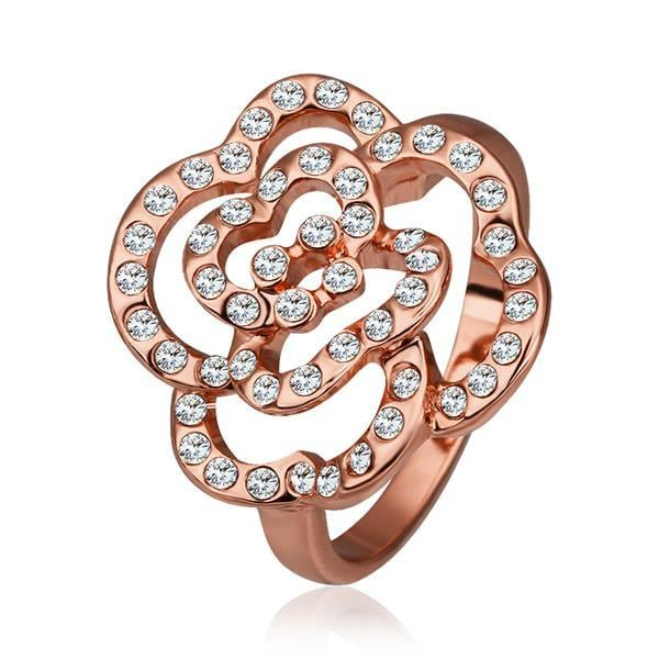 Vienna Jewelry Rose Gold Plated Laser Cut Blossoming Floral Ring Size 8
