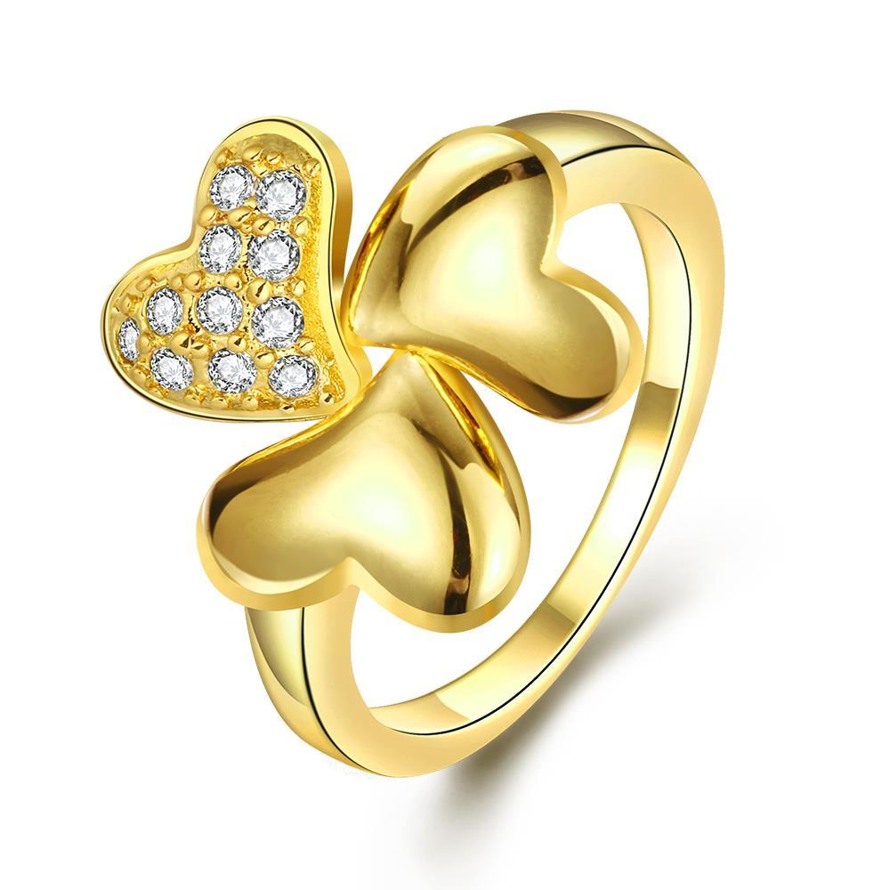 Vienna Jewelry Gold Plated Petite Clover Stud Ring Size 8