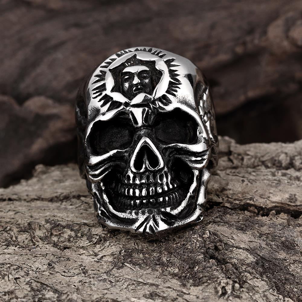 Vienna Jewelry Silver Lining Stainless Steel Skull Ring