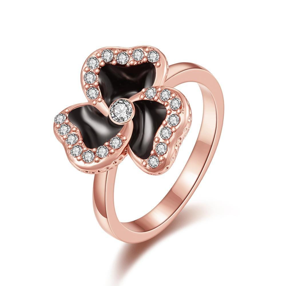 Vienna Jewelry Rose Gold Plated Twister Clover Shaped Ring Size 7
