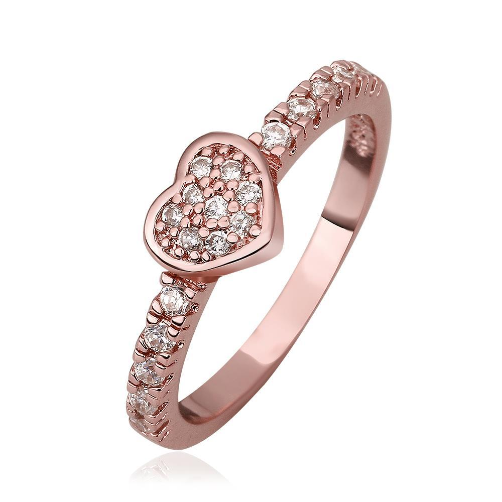 Vienna Jewelry Rose Gold Plated Petite Heart Shaped Ring Size 8