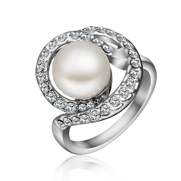 Vienna Jewelry White Gold Plated Swirl Pearl Ring Size 8
