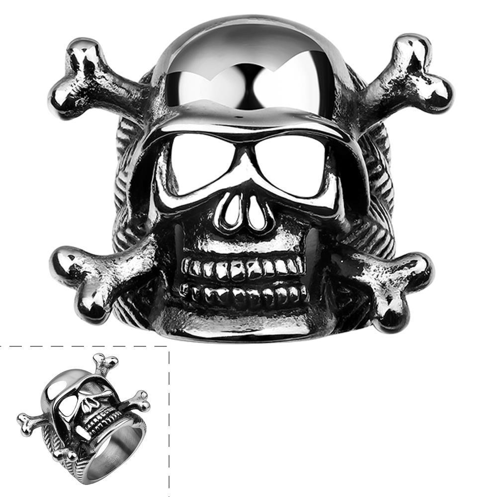 Vienna Jewelry Skull & Bones Emblem Stainless Steel Ring