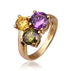 Vienna Jewelry Gold Plated Trio-Circular Ring Size 8 - Thumbnail 0