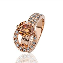 Vienna Jewelry Rose Gold Plated Orange Citrine Center Ring Size 8 - Thumbnail 0